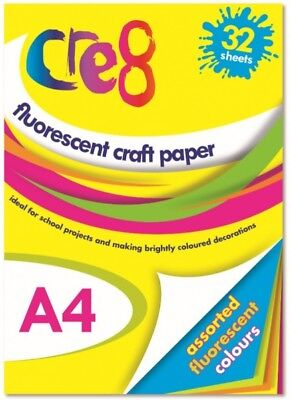32 Sheet Pad A4 Fluorescent Activity Paper Arts Crafts School Childrens Project