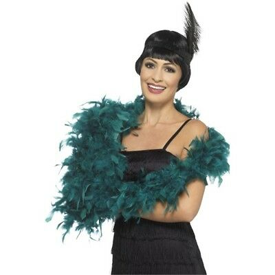180cm Teal Feather Boa - Deluxe Ladies Fancy Dress Costume Accessory Hen Party