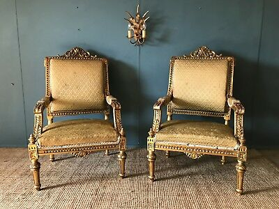 Ornate Pair Of Large Antique French Carved Gilt 19th Century Fauteuil Armchairs