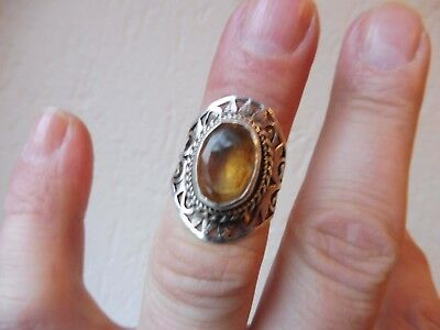 VERY NICE, Old RING__925 Silver__with Polished Stone ___