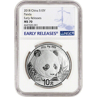 2018 China Silver Panda (30 g) 10 Yuan NGC MS70 Early Releases