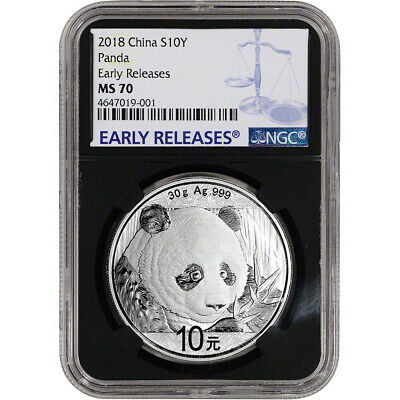 2018 China Silver Panda (30 g) 10 Yuan NGC MS70 Early Releases Black Core