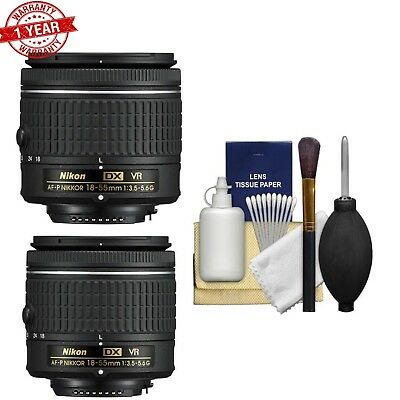2X Nikon AF-P 18-55mm f/3.5-5.6G DX VR NIKKOR Zoom Lens w/ Lens Cleaning Kit