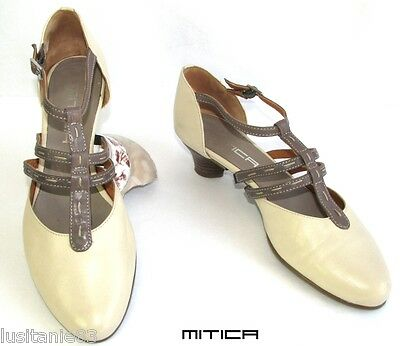 Mitica - Shoes Small Heels all Leather Beige & Brown 39 - Mint