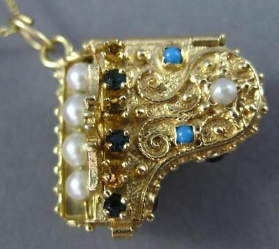 Antique Large .52Ct Multi Color Gem 14K Yellow Gold 3D Handcrafted Piano Pendant