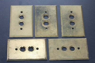 Five Antique Vintage Brass Push Button Switch Blade Covers