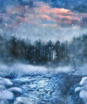 Hoffman Call of the Wild SNOWY RIVER Scenic Storm Forest Fabric 37 In Panel