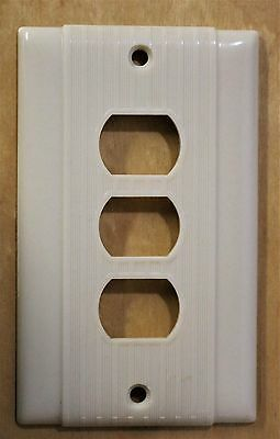 Vintage Ivory Uniline TRIPLE Switch BAKELITE Art Deco Mid Century NEW OLD STOCK
