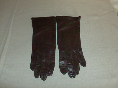 Vintage Fownes Dark Brown Leather Silk Lined Womens Gloves 7.5 EUC Free Ship