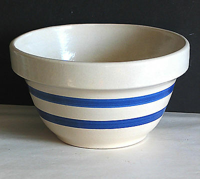 "7"" ROBINSON RANSBOTTOM POTTERY Mixing Bowl Beige Blue Striped FREE SH"
