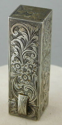 Vintage 800 SILVER ETCHED LIPSTICK CASE HOLDER with MIRROR Made in Italy