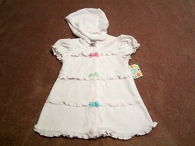 Baby Girls Little Me White w/Polka Dot Bows Swim Robe/Cover Up Size 24M
