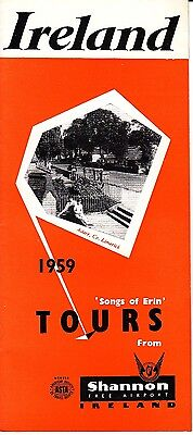 Ireland 1959 'Songs of Erin' Tours from Shannon Free Airport Booklet