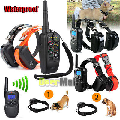 Daily Waterproof LCD 1100 Yard Shock Vibra Remote 2 Dog Training Collar 4 mode