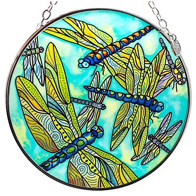 Dragonfly Gathering Suncatcher Hand Painted Glass By AMIA Studios 4.5""