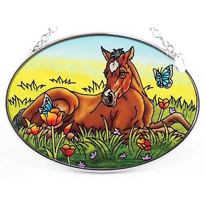"""Spring Foal"" Horse Suncatcher Hand Painted Glass AMIA 4.5"" x 3.25"""