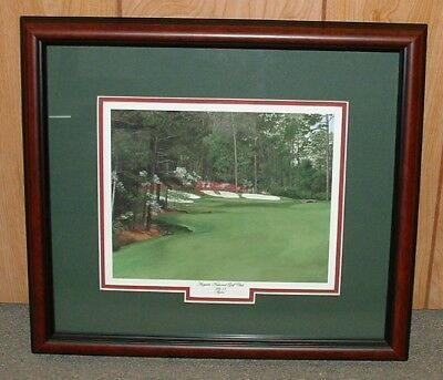 "Framed - 13th at Augusta golf print   MASTERS = 16"" x 18"" overall size Giclee"