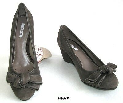 Geox - Wedges all Leather Velvet Grey Taupe 35 - New