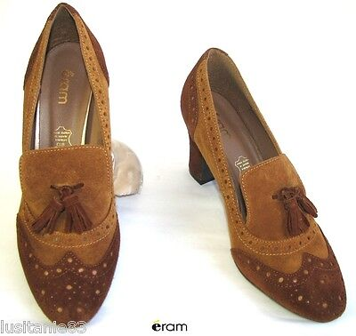 Eram - Moccasins Shoes Heels 8 cm Leather Suede Brown Camel 38 - New