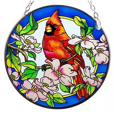 Cardinal and Dogwood Bird Suncatcher Hand Painted Glass By AMIA Studios 4.5""