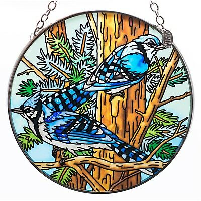 Blue Jays Bird Suncatcher Hand Painted Glass By AMIA Studios 4.5""