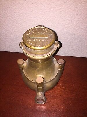"Vintage Neptune Trident 6 dial Water Meter 5/8"" BRASS Case Untested As-Is Parts"