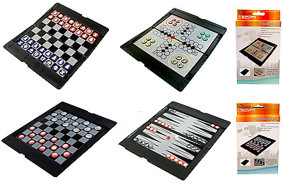 Magnetic Deluxe Travel Board Games Set of 4 Ludo Draughts Chess Backgammon Game
