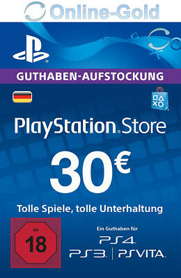 PSN Network Card 30 Euro PS3 PS4 PS Vita PlayStation Gift Prepaid Code 30€ - DE
