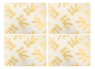 Sara Miller Etched Leaves Grey Placemats Set of 4 Table Mat Cork Backed