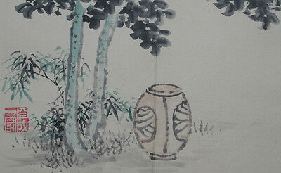 TSUKUBAI, GARDEN WATER BASIN : ORIGINAL Vintage Japanese Zen Gado Brush Painting