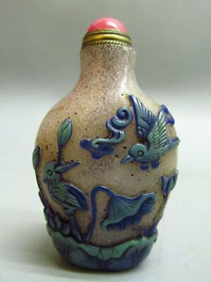 Chinese Peking Glass Carved Lotus Flower Crane Pattern Snuff Bottle