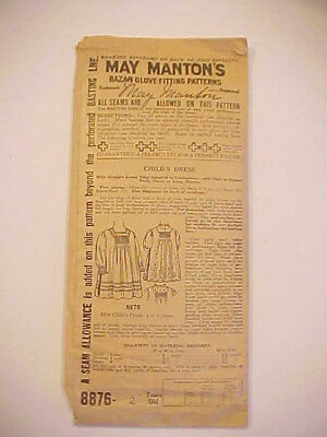 c1900 Antique Period May Mantons Childs Dress Pattern # 8876 complete 2 Yrs