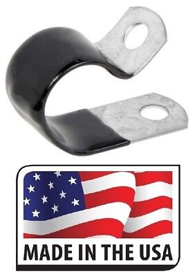 "(100) 1/4"" Black Vinyl Cushion Clamp Galvanized Steel 1/4 INCH MADE IN USA"