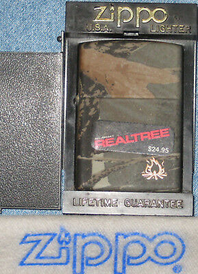ZIPPO  REALTREE Lighter CAMPFIRE Hard to Find SEALED Mint In Box RARE Camo
