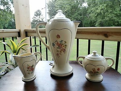 3 PC Vintage PORCELIER  COFFEE POT-PERCOLATOR Creamer & Sugar  BLACK TRIM- Cord