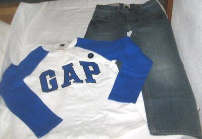 NWT Boys 7 GAP 2 Pc Outfit Jeans and Long Sleeve Logo Top NEW