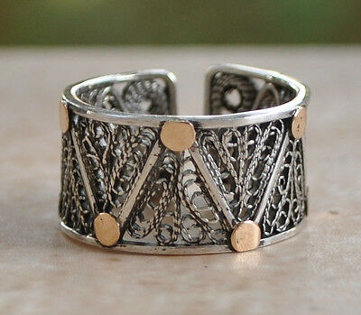 Handcrafted Middle Eastern Arabic sterling Silver filigree Ring/14k Gold dots