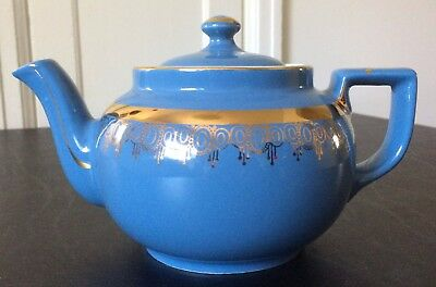 Hall Pottery #06 Boston Teapot - 6 cup - Blue with Gold Pattern - Made in USA