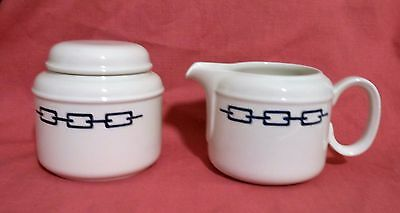"""J&g Meakin Ironstone """"silhouettes Links"""" Creamer And Sugar Bowl With Lid Set"""