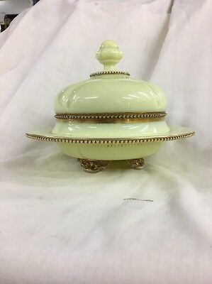 EAPG CUSTARD ENAMELED  GEORGIA GEM COVERED BUTTER DISH by TARENTUM ca 1900