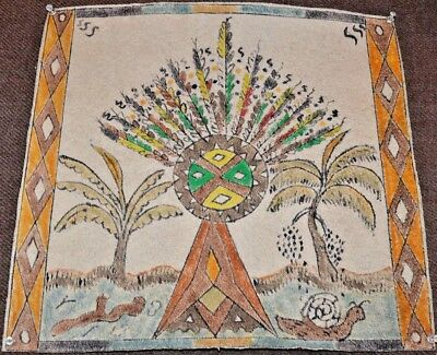 Tikuna Tribal Forest Spirit Painting On Plant Fiber From Amazon South America