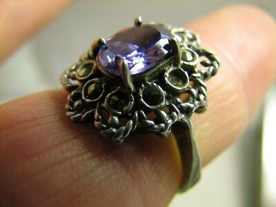 INTERESING ! AUTHOR'S WORK ! VINTAGE STERLING SILVER RING with STONE !# 124