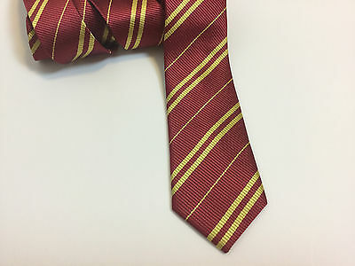 Gryffindor Tie ~ Burgundy with Gold Stripes for Harry Potter Halloween Costume