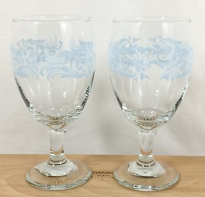 MOS Vtg 2 Libbey SNOWFLAKE SWIRL 16 oz Goblets Ice Tea Wine Water Christmas
