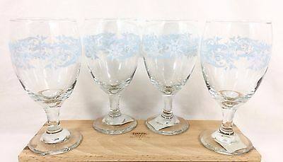 Vtg 4 Libbey SNOWFLAKE SWIRL 16 oz Goblets Ice Tea Wine Water Christmas * NWT *