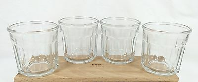 "4 Vtg Luminarc Working Glasses Tumblers Rocks 10 Panel 14 oz. 3 3/4"" Glass Set"