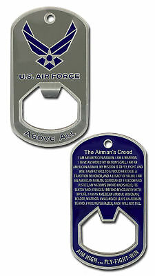 "Air Force Airman's Creed 2.5"" Bottle Opener Dog Tag Challenge Coin"