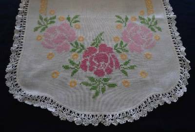Vintage Linen Table Runner Pink Yellow Crosstitch Floral Embroidery Crochet Lace