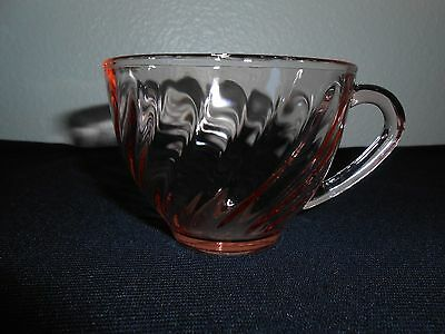 Arcoroc France Glassware Rosaline Pink Swirl Tea Coffee Cup Glass FREE SHIPPING!