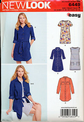 New Look Sewing Pattern 6449 Misses 8-20 Easy Shirt Dress & Knit T-Shirt Dress